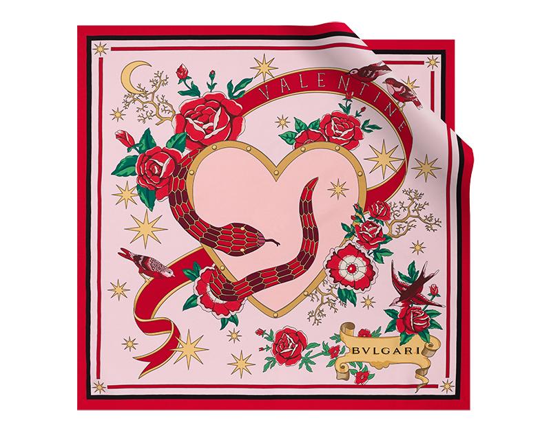 Pañuelo Serpenti Forever edición Celebration de sarga de seda fina color rosa de Francia.
