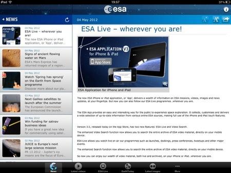 Una aplicación de la ESA para dispositivos Apple