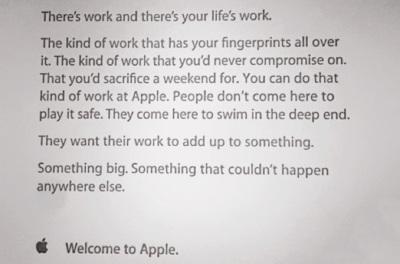La carta de bienvenida que reciben los trabajadores de Apple, sus ofertas de trabajo y otras curiosidades