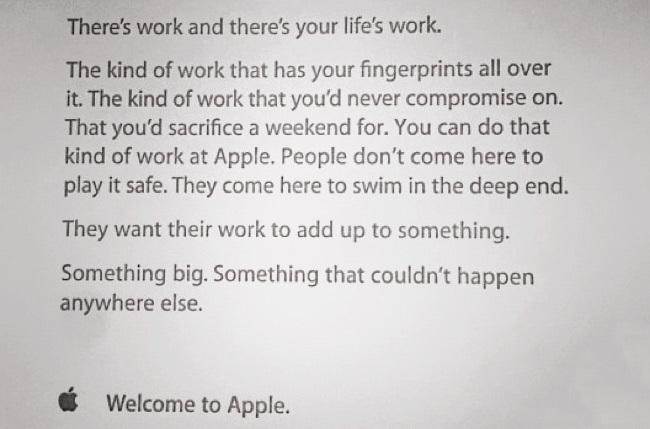 Carta de bienvenida a Apple