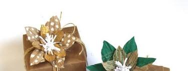 Hazlo tú mismo: decora tus regalos de Reyes con flores de papel reciclado