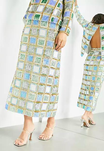 Falda de verano midi a cuadros de ASOS Edition