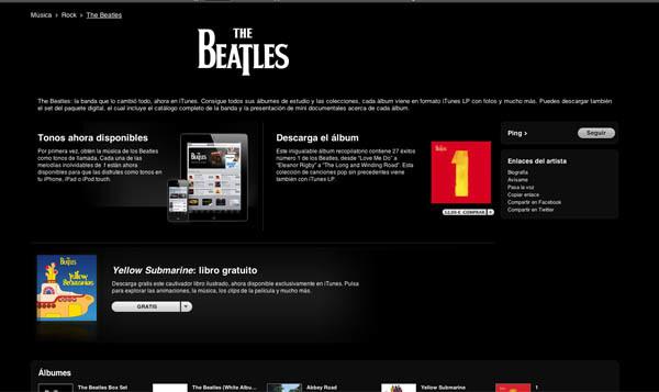 Pantallazo de la iTunes Store con los Beatles