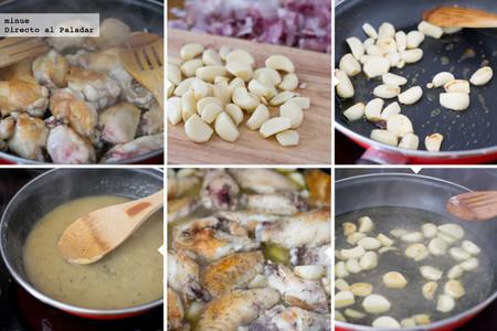 Pollo a los 40 dientes de ajo - elaboración