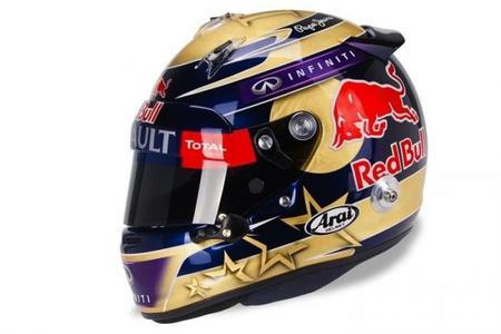 Un casco con oro de 24 kilates para Sebastian Vettel