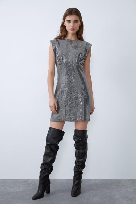 Vestido Plateado Zara 3