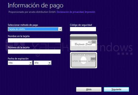 Actualización a Windows 8 Pro, pago con tarjeta