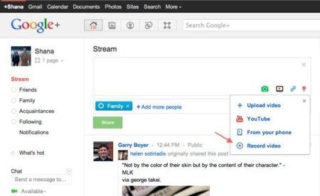 Google+ ya permite grabar y compartir vídeos directamente
