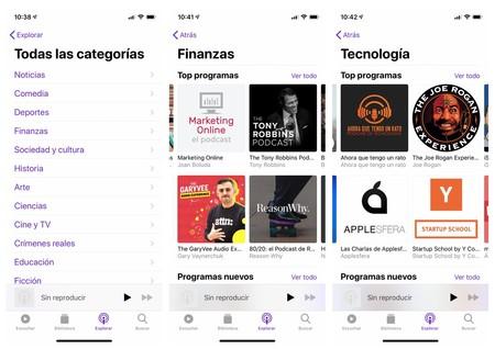 La aplicación Podcasts de Apple añade una nueva clasificación de su catálogo por categorías