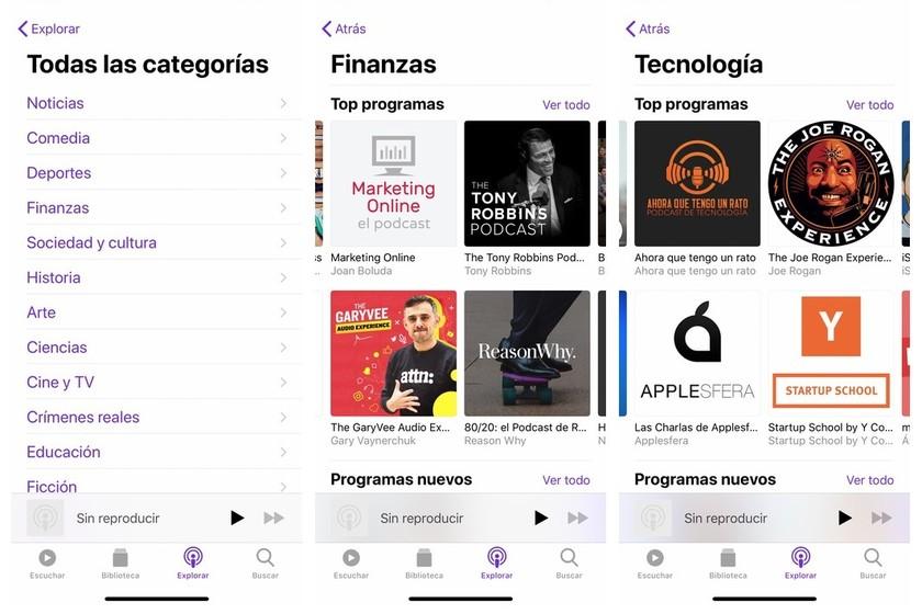 La aplicación Podcasts de Apple añade una nueva clasificación de su catálogo por categorías thumbnail