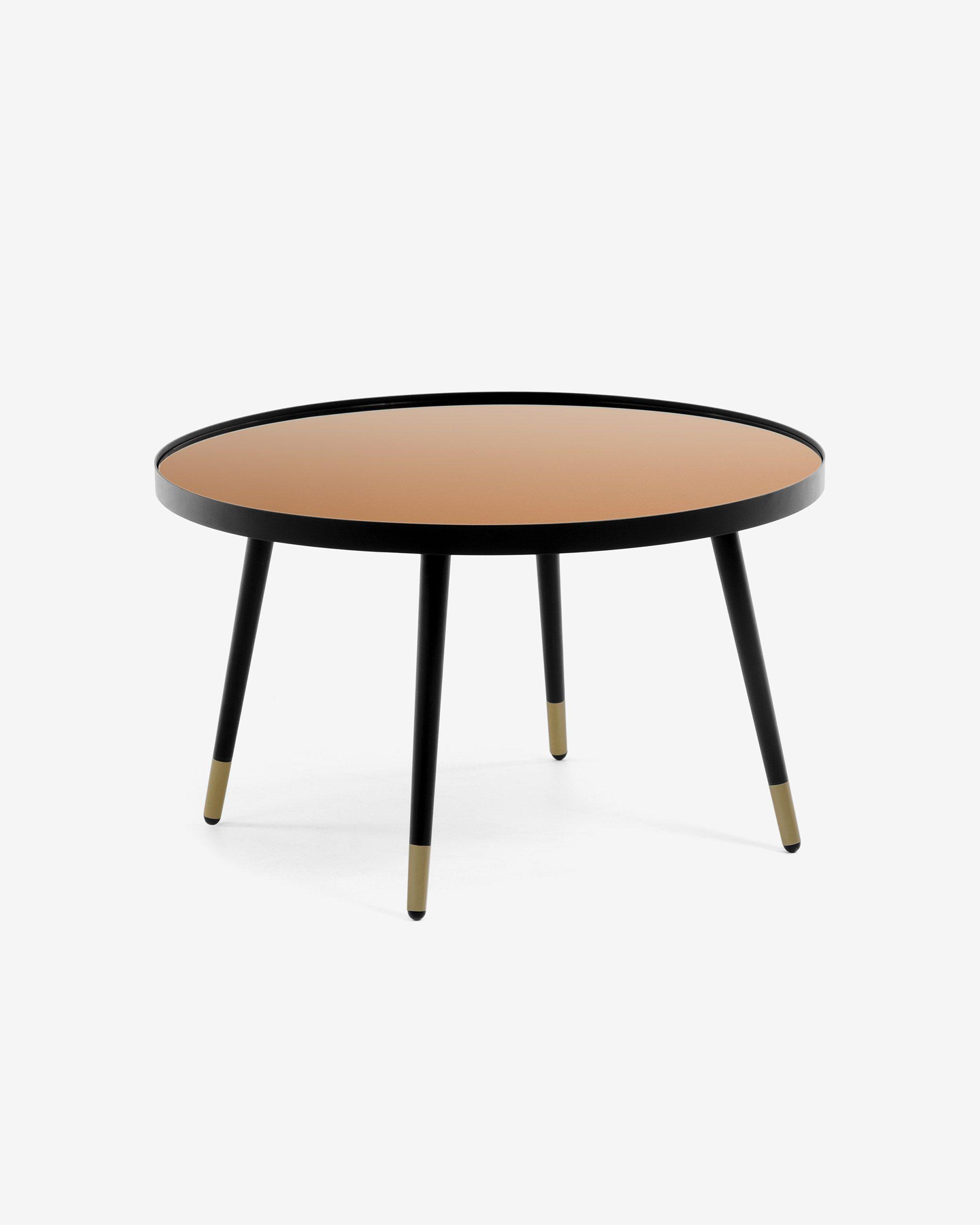 Mesa de centro Dila cristal efecto cobre y estructura acero acabado negro y dorado Ø 80 cm