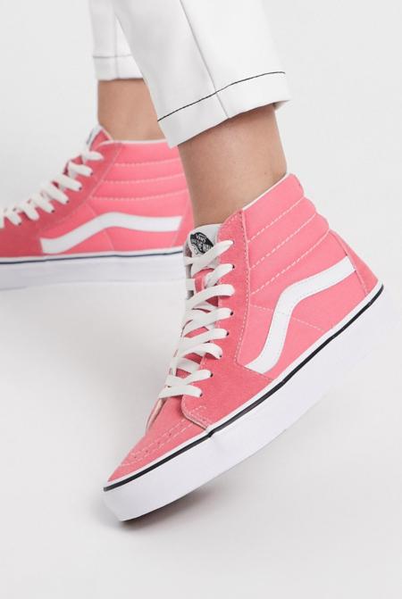 Zapatos en rosa fresa y blanco puro SK8-Hi de Vans Authentic