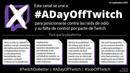 Imagen que creadores y usuarios hispanohablantes están empleando para mostrar su adhesión a la protesta #ADayOffTwitch y explicar las razones de la misma