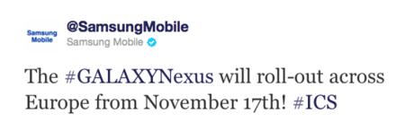 Samsung Galaxy Nexus comienza su aventura europea el 17 de noviembre, Galaxy Note el día 7 en España
