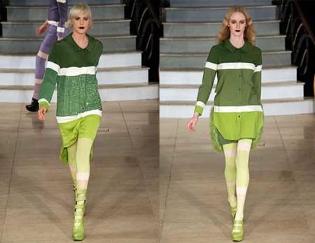 House of Holland Otoño-Invierno 2009/2010 en la Semana de la Moda de Londres, de verde