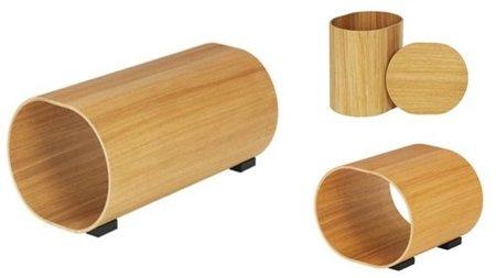 Sencillos y bonitos, muebles cilíndricos en madera