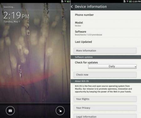 Firefox OS en el HTC HD2