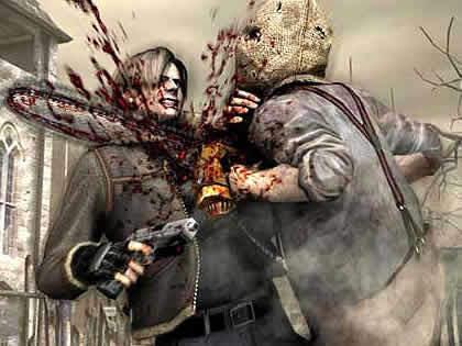 Leon se corta con la motosierra en Resident Evil 4