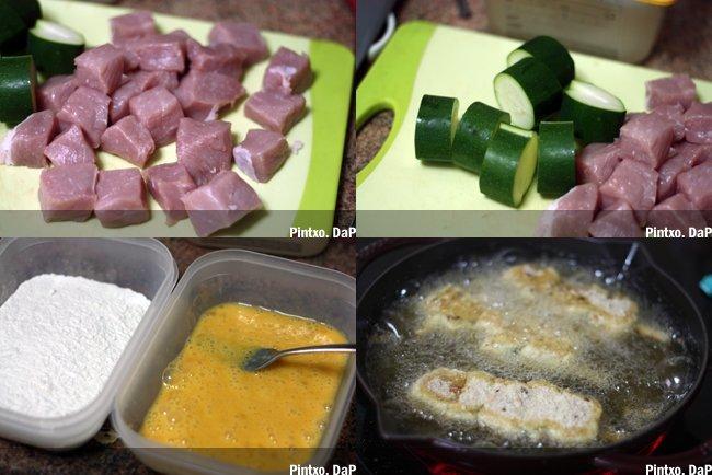 Brocheta de cerdo frito y calabacín. Pasos