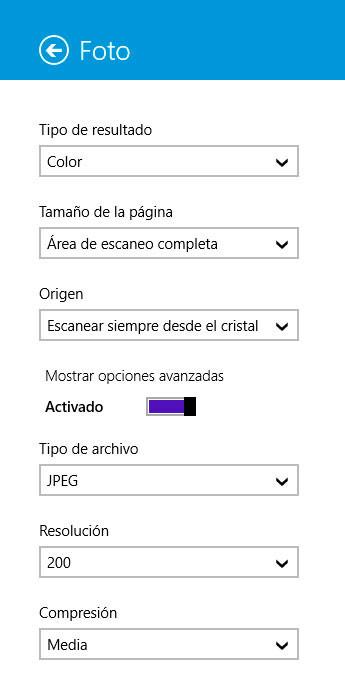 hp scan opciones