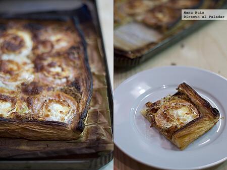 Tarta rápida de mostaza, tomate y queso de cabra, receta sencilla para una cena llena de sabor