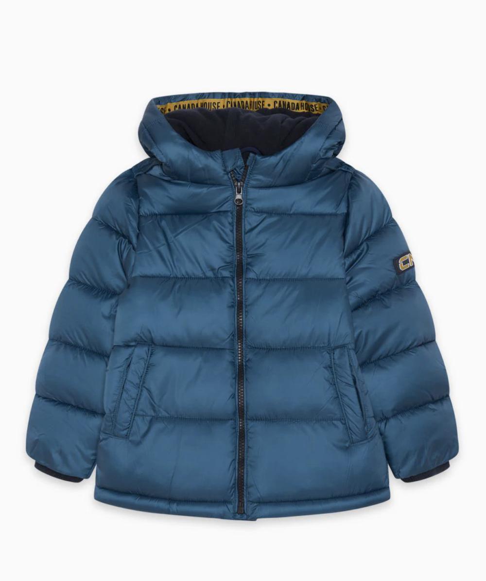 Plumífero de niño con capucha en color azul