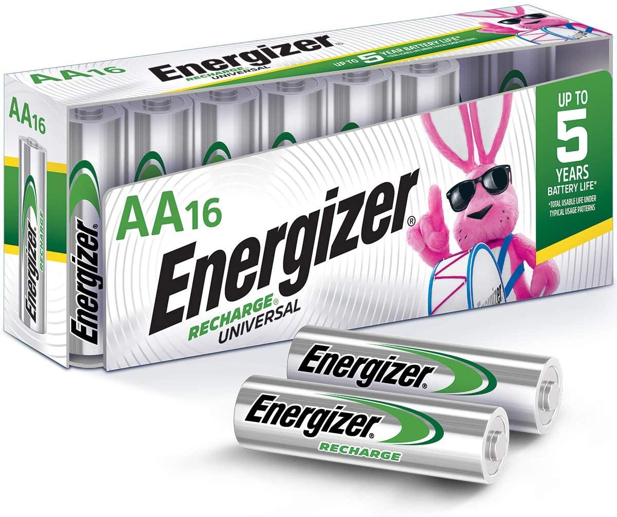 Energizer Baterías AA Recargables, NiMH, 2000 mAh, precargadas, 16 Unidades (Recargable Universal)