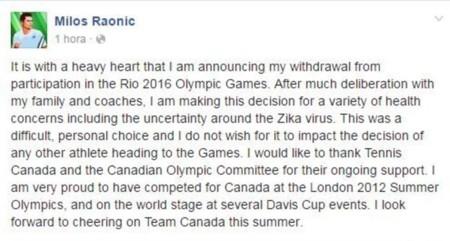 Milos Raonic Renuncia Zika