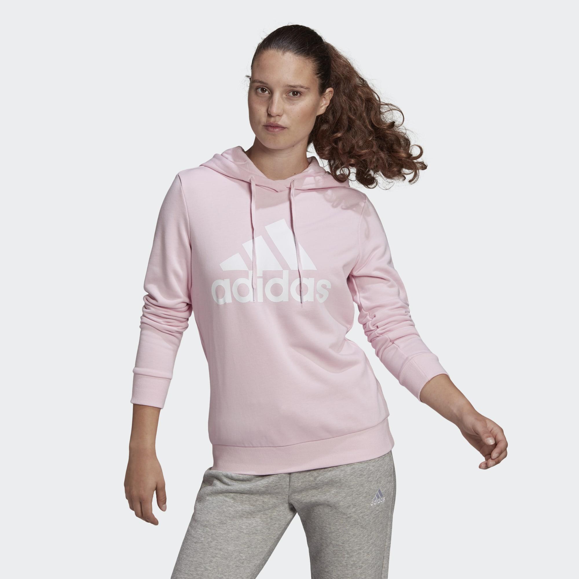 Sudadera básica rosa con capucha con el logo en blanco
