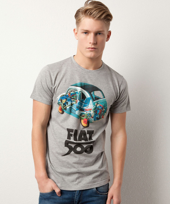 Camiseta pull and bear fiat 500 gris