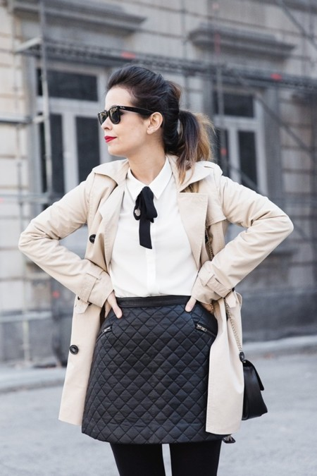 White Shirt Black Bow Leather Skirt Trench Coat Forever 21 Madrid Outfit Street Style Collage Vintage 17 790x1185
