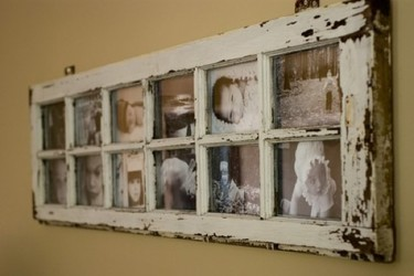 Recicladecoración: ventanas antiguas como marcos para fotos