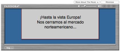 Pandora bloqueado fuera de Estados Unidos