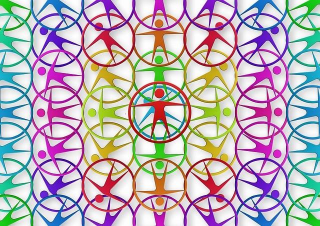 Círculos con persona dentro, distintos colores.