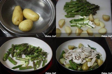 Salteado de verduras con huevo frito. Pasos