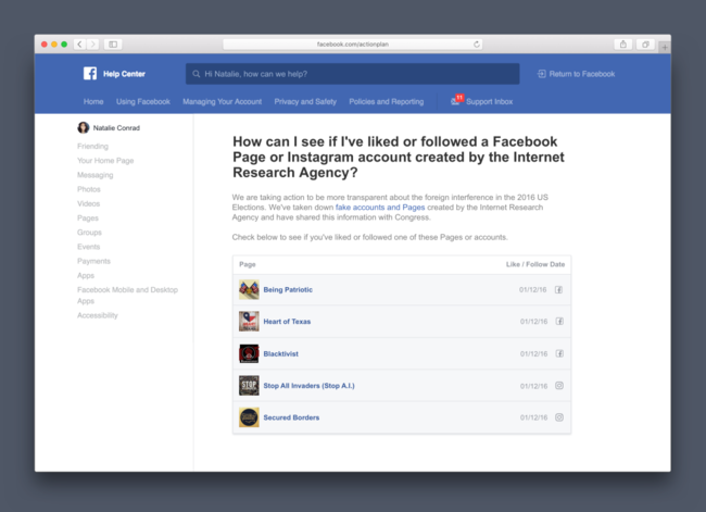 Facebook te dirá si te gustaron páginas de propaganda rusa