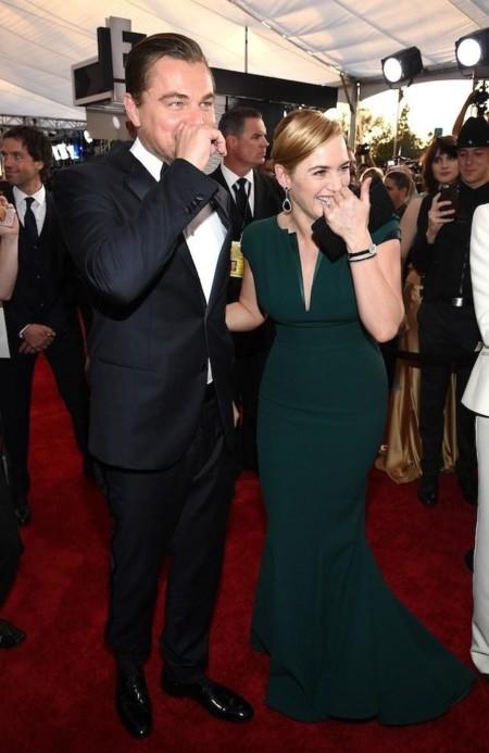 Leonardo DiCaprio y Kate Winslet en la alfombra roja