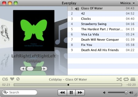 Everplay, reproductor de canciones para Mac OS X