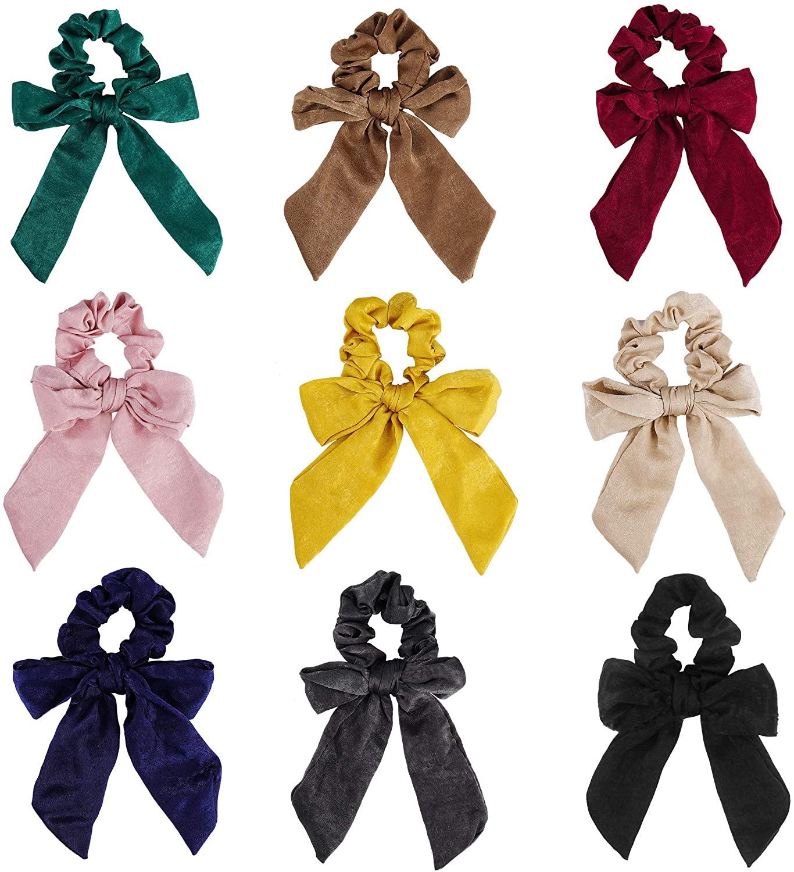 Gomas del Pelo, 9 Piezas de Elástico Cabello Scrunchies con Lazo, Multicolores Coleteros de Gasa Banda de Pelo Accesorios Pelo para Mujeres y...