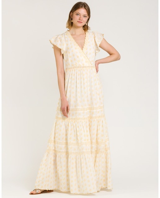 Vestido boho en amarillo y crema y detalles bordados