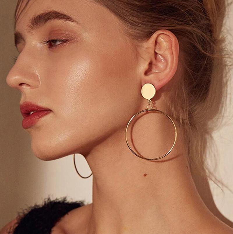 Simple moda chapado en oro plata geométrico grande redondo sin piercing Clip pendiente para mujeres sin agujero en la oreja grande hueco auriculares joya Clip
