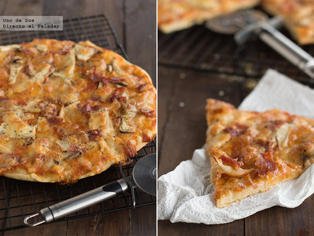 Pizza crujiente de setas de cardo y jamón. Receta