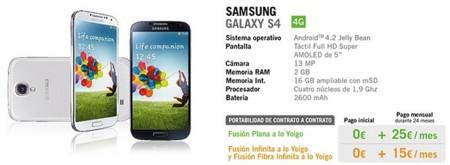Precios Samsung Galaxy S4 con Fusiones a lo Yoigo
