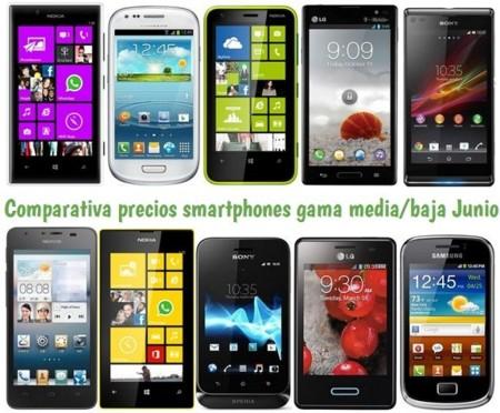 Comparativa Precios Smartphones más baratos Junio 2013