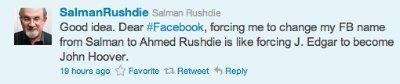 El día en que Facebook quiso obligar a Salman Rushdie a cambiarse el nombre