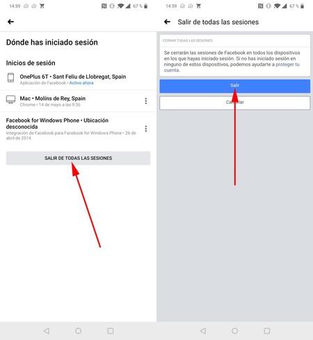 Cerrar Sesión Facebook