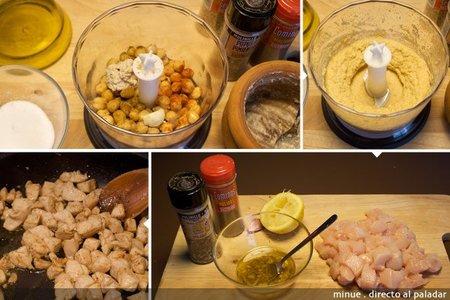 Tortitas de pollo y hummus - elaboración