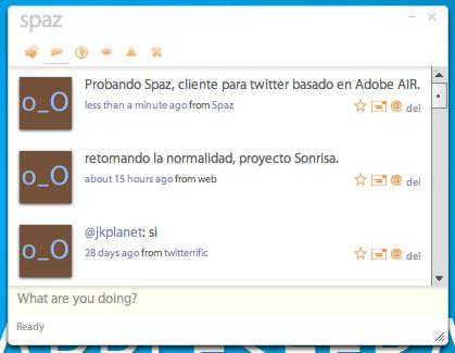 Spaz cliente para Twitter basado en Adobe AIR