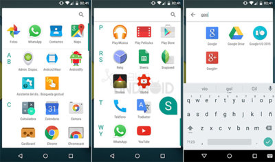 Android M estrena lanzador de aplicaciones, ahora agrupadas por letras, con buscador y recientes