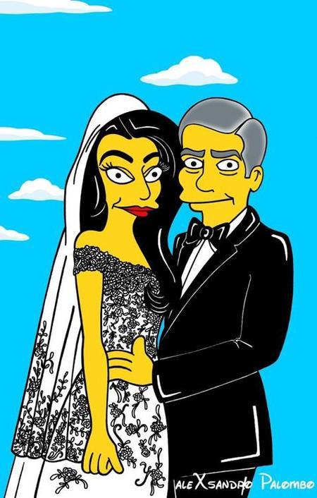 Amal Alamudin y George Clooney también simpsonizados por la ironía y el arte de AleXandro Palombo